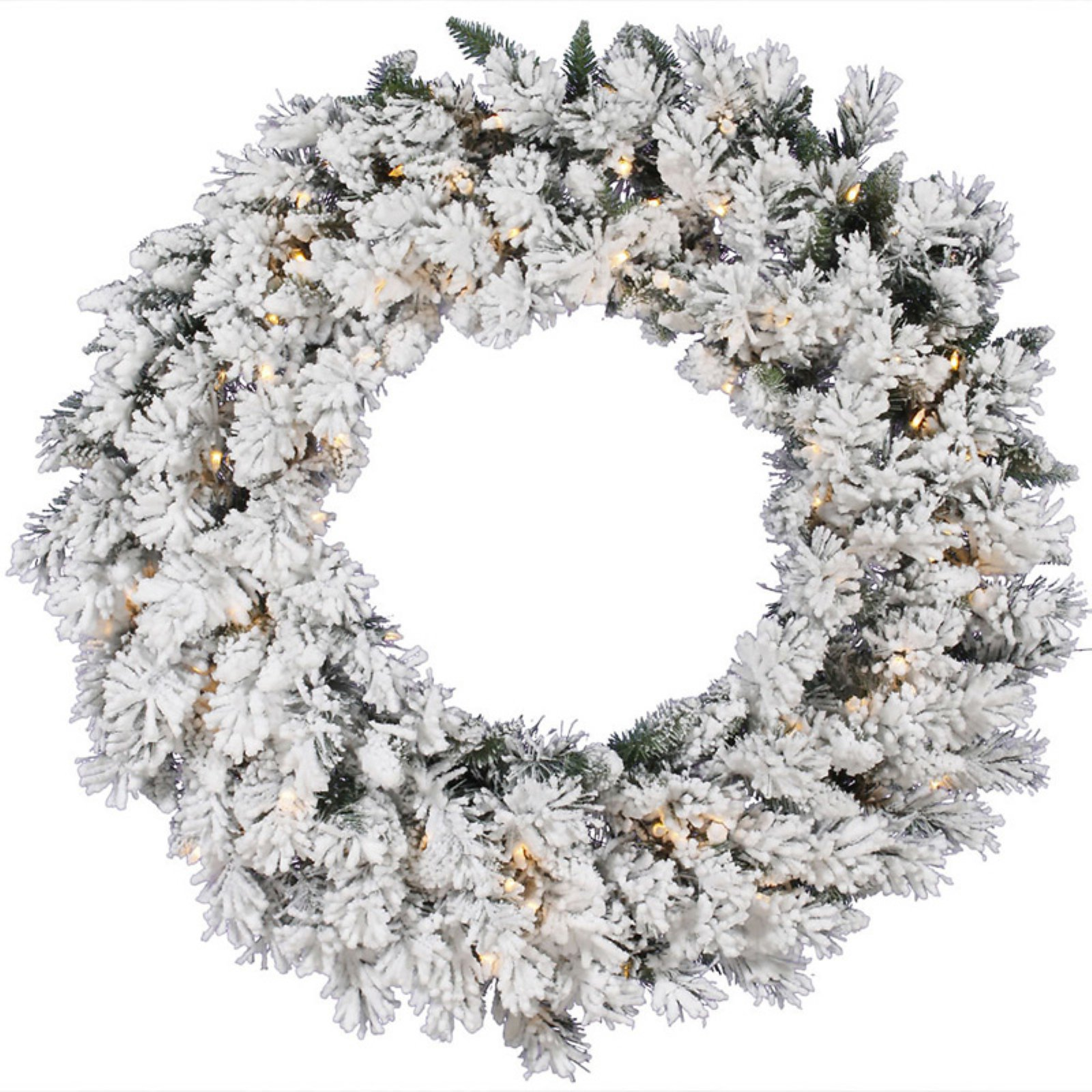 Vickerman Flocked Snow Ridge Pre-Lit Wreath