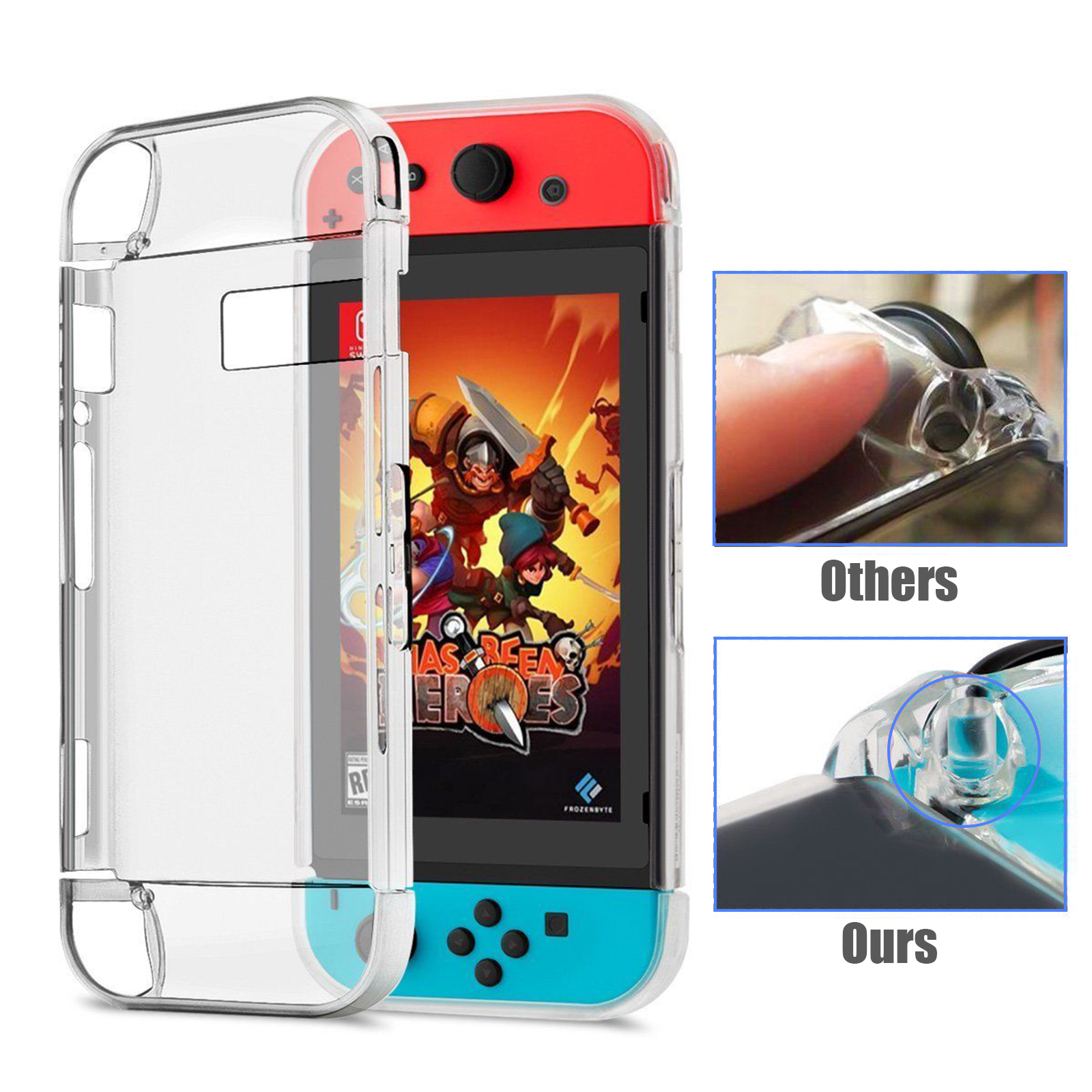 Transparent Crystal 3-Part Protective Hard Back Clear Case Cover for Nintendo Switch