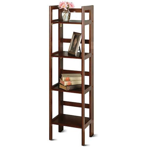 Wood Folding 4-Shelf Bookcase, Multiple Finishes