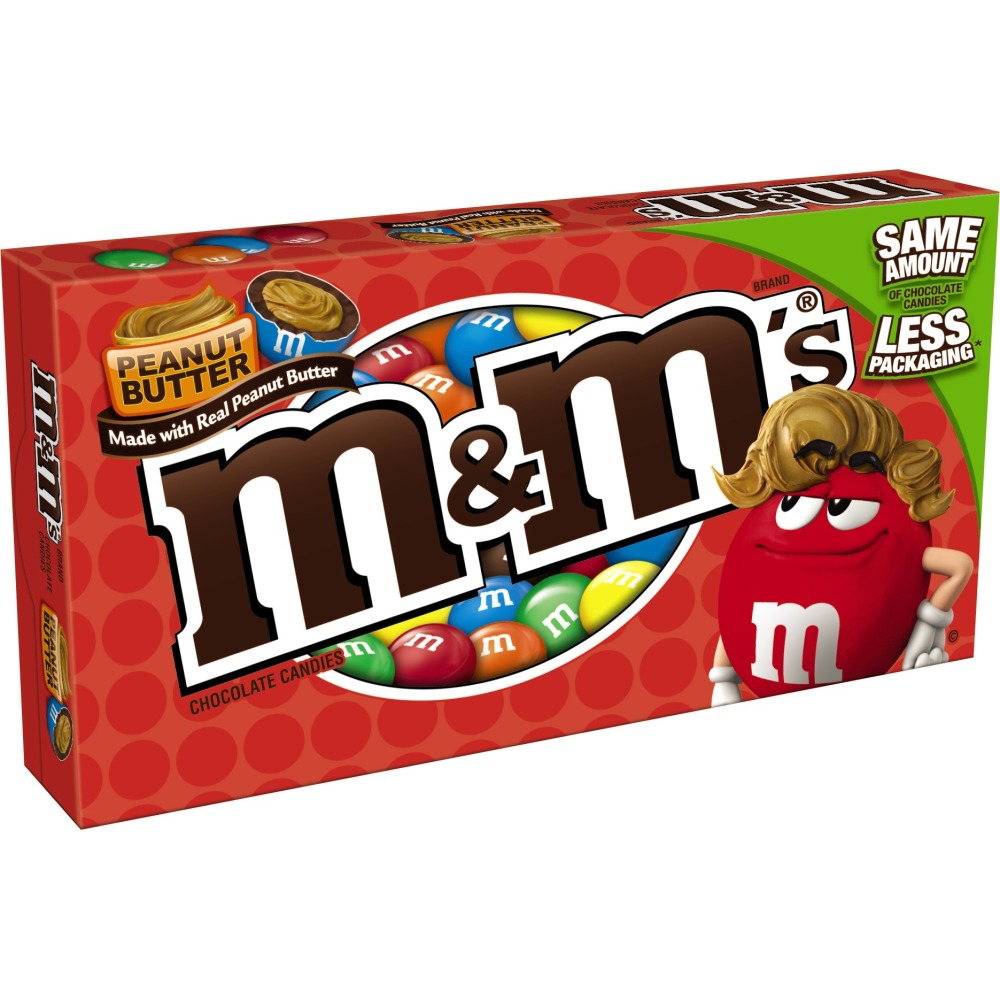 M&M'S Peanut Butter Chocolate Candy Movie Theater Box, 3.2 oz