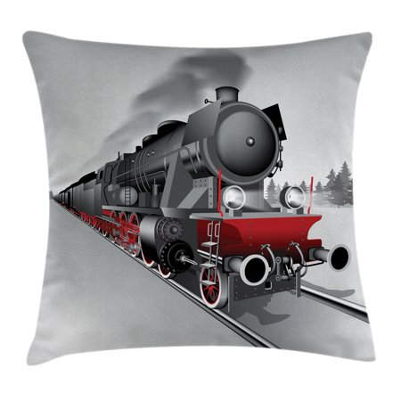 Steam Engine Throw Pillow Cushion Cover, Locomotive Red Black Train with Headlights on Steel Railway Track Graphic Print, Decorative Square Accent Pillow Case, 18 X 18 Inches, Red Grey, by Ambesonne