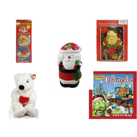 Christmas Fun Gift Bundle [5 Piece] - Xmas Ornamentbooks: Grandfather's Nativity, Reindeer - Vintage Designed Stocking Hanger Santa - 3 Piece Santa Potpourri Tealight Warmer  - Ty Beanie Buddy