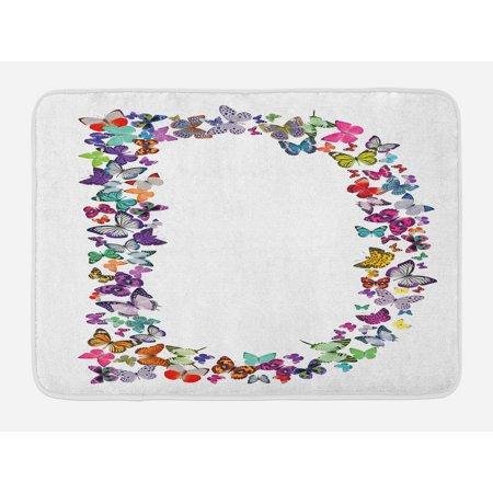 Letter D Bath Mat, Magical Creatures Flying Monarch Butterflies Fragility Grace Artistic Collection, Non-Slip Plush Mat Bathroom Kitchen Laundry Room Decor, 29.5 X 17.5 Inches, Multicolor, Ambesonne (Monarch Bath Fixture)
