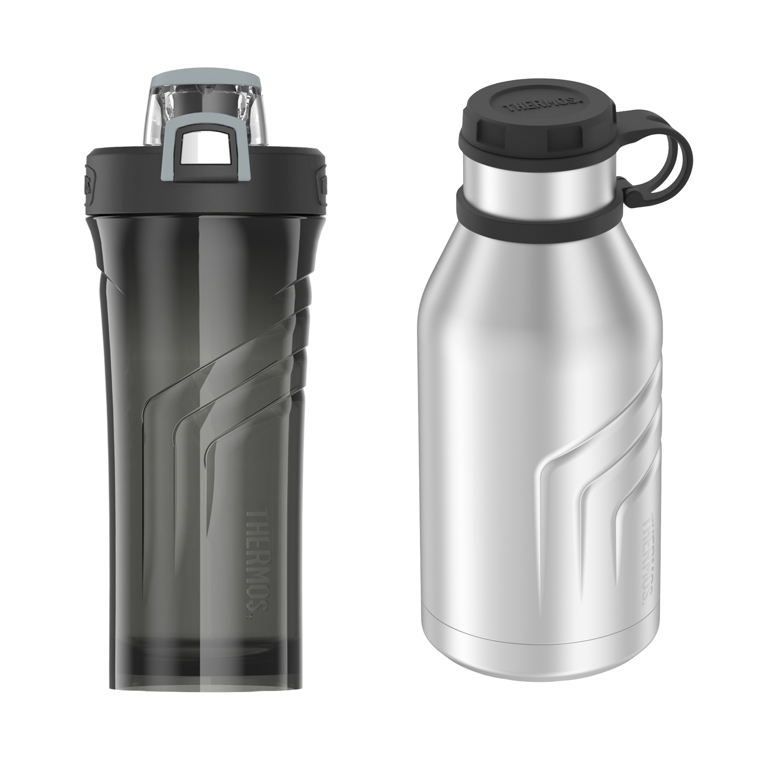 Thermos ELEMENT5 Vacuum Insulated 32-oz Beverage Bottle with Screw Top Lid, Stainless Steel & Thermos 24-Ounce Plastic Hydration Bottle, Black
