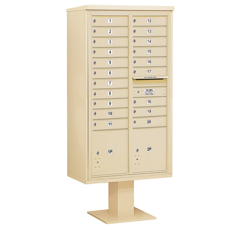 Salsbury Industries 20 Door Front Load 4C Horizontal Cluster Box Unit with 2 Parcel Lockers