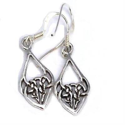 1PK Sterling Silver Elongated Celtic Knotted Drop Dangle Earrings