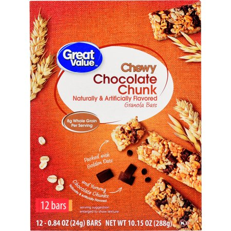 Great Value Chocolate Chunk, 90 Calorie Chewy Granola Bars, 0.84 oz, 12 ct