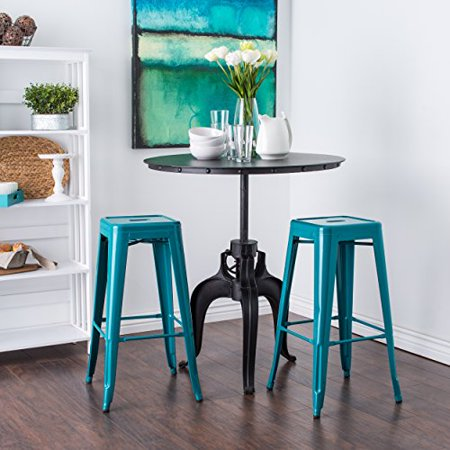Modhaus Set Of 2 Turquoise French Bistro Tolix Style Metal Bar Stools In Glossy Powder Coated Finish Includes Living Tm Pen