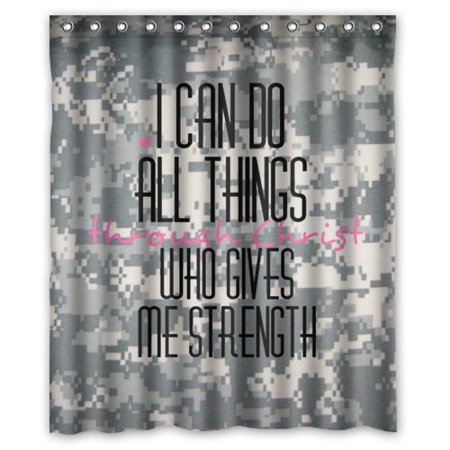 HelloDecor Christian Bible Verse Philippians 4:13 Camo Camouflage Patterns I Can Do All Things Through Christ Shower Curtain Polyester Fabric Bathroom Decorative Curtain Size 60x72 Inches