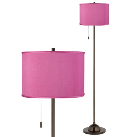Possini Euro Design Club Floor Lamp Slim Profile Tiger Bronze Pink Orchid Textured Faux Silk Drum Shade for Living Room Reading Petite Club Floor Lamp