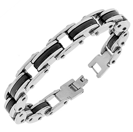 Stainless Steel Silver Black Two-Tone Link Chain Mens Bracelet with Clasp