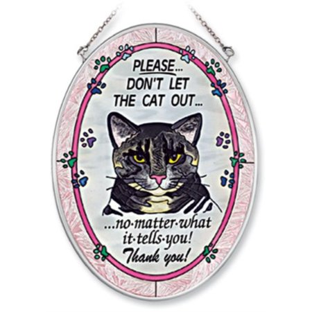 Amia 7088 Medium Oval Suncatcher with Cat Design, Hand-painted Glass, 5-1/2-Inch W by 7-Inch -