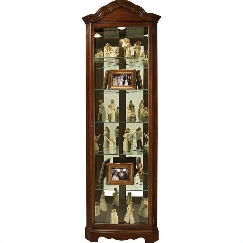 Howard Miller Murphy Corner Curio Cabinet in Cherry Bordeaux by Howard Miller