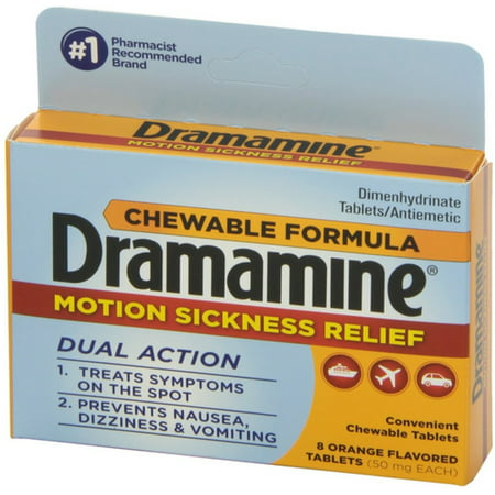 6 Pack - Dramamine Motion Sickness Relief Chewable Tablets 8 ea