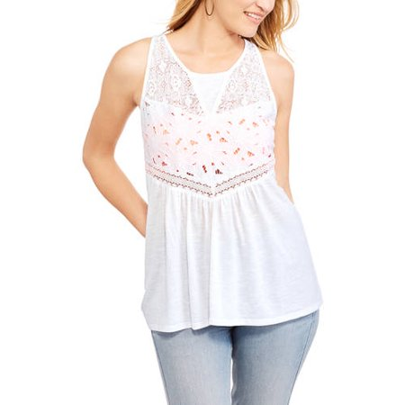 No Boundaries Juniors' Slub Jersey Tank With Lace and Eyelet Front