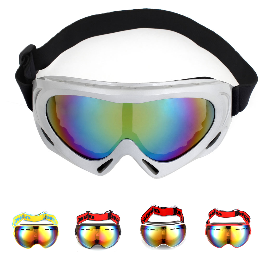 Unique Bargains Winter Sports Snowboard Ski Goggles Windproof Anti-UV Snow Glasses for Men Women