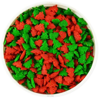 Red And Green Christmas Tree Confetti 6 oz. Sprinkles Edible Cookie Cake Cupcake Decorating