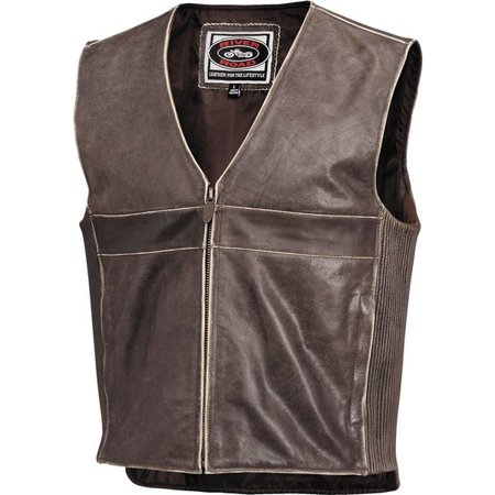 Black Sz 46 River Road Drifter Leather Vest
