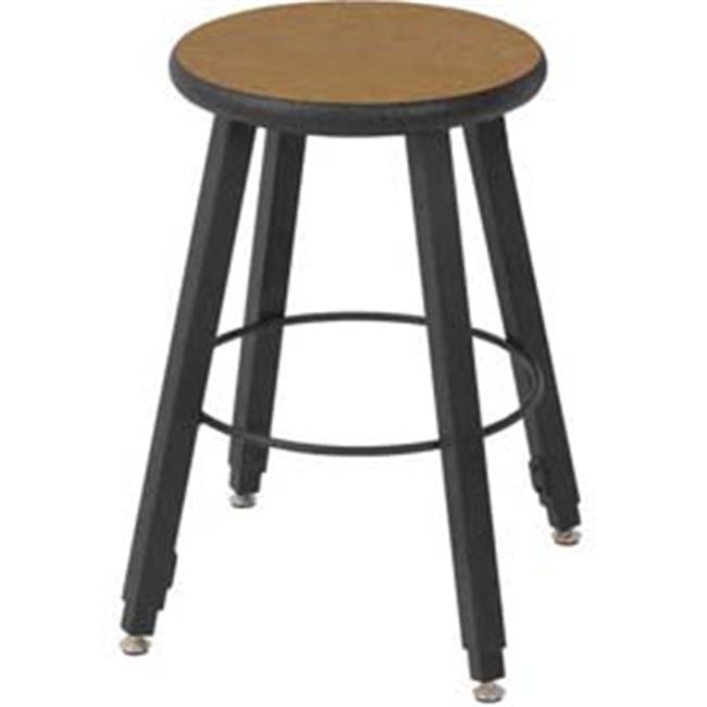 National School Lines QSSTL7186-AQ-32 18-2 8 inch Adjustable Four-Legged Square Tube Fully Welded Stool, Bannister Oak