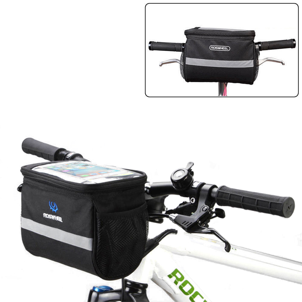 Bike Handlebar Bag, Bicycle Pannier Frame Tube Outdoor Cycling Pouch Front Basket, Map Sleeve Quick-Release for Mountain Road MTB Folding Bike