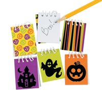 Fun Express - Iconic Halloween Mini Notepads for Halloween - Stationery - Notepads - Notepads - Halloween - 48 Pieces