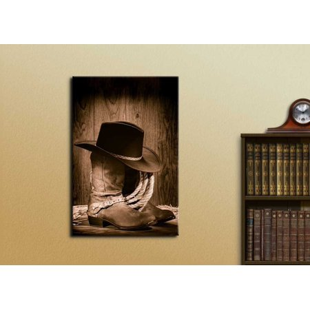 b3c2970a4b6 wall26 Canvas Prints Wall Art - American West Rodeo Cowboy Black Felt Hat  Atop Worn Western Boots Vintage Style