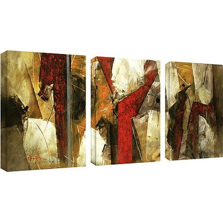 Trademark Art Abstract Ix Canvas Art By Lopez 3 Piece Panel Set 14x19