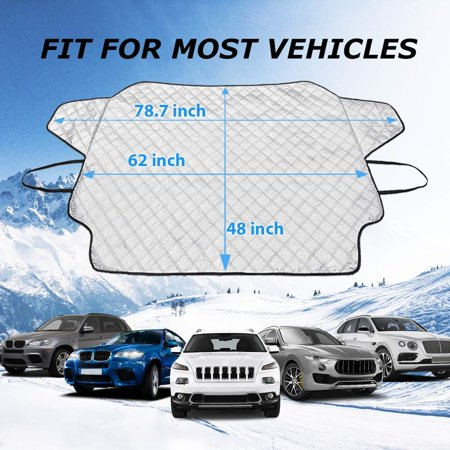 Car Windshield Snow Cover,Car Windshield Snow Ice Cover with 4 Layers Protection,Snow,Ice,UV,Frost Defense,Extra Large Windshield Winter Cover Fits Most Cars and SUV Fits Any Windshield