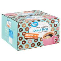 Great Value 100% Arabica Donut Shop Coffee Pods, Medium Roast, 96 Count