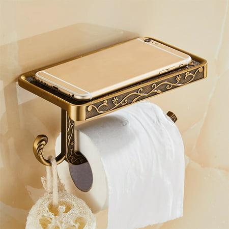 Mrosaa Reversible Bathroom Toilet Paper Holder with Phone Shelf and Hook, Vintage Decor Style