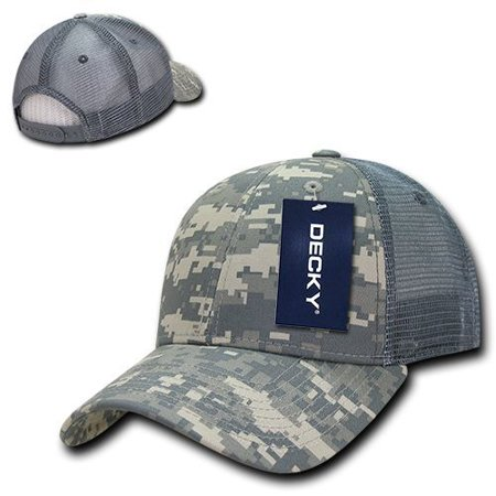 ACU Camo Cotton Mesh Structured Low Crown Curved Trucker Baseball Ball Cap