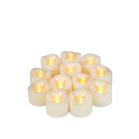"Flameless LED Tea Lights with Timer Realistic Flickering Electric Battery Operated Powered Tealight Votive Candles , Size 1.5""(D)x1.5""(H), 12-Pack, Long Lasting Batteries Included - Flickering Flameless Tea Lights"