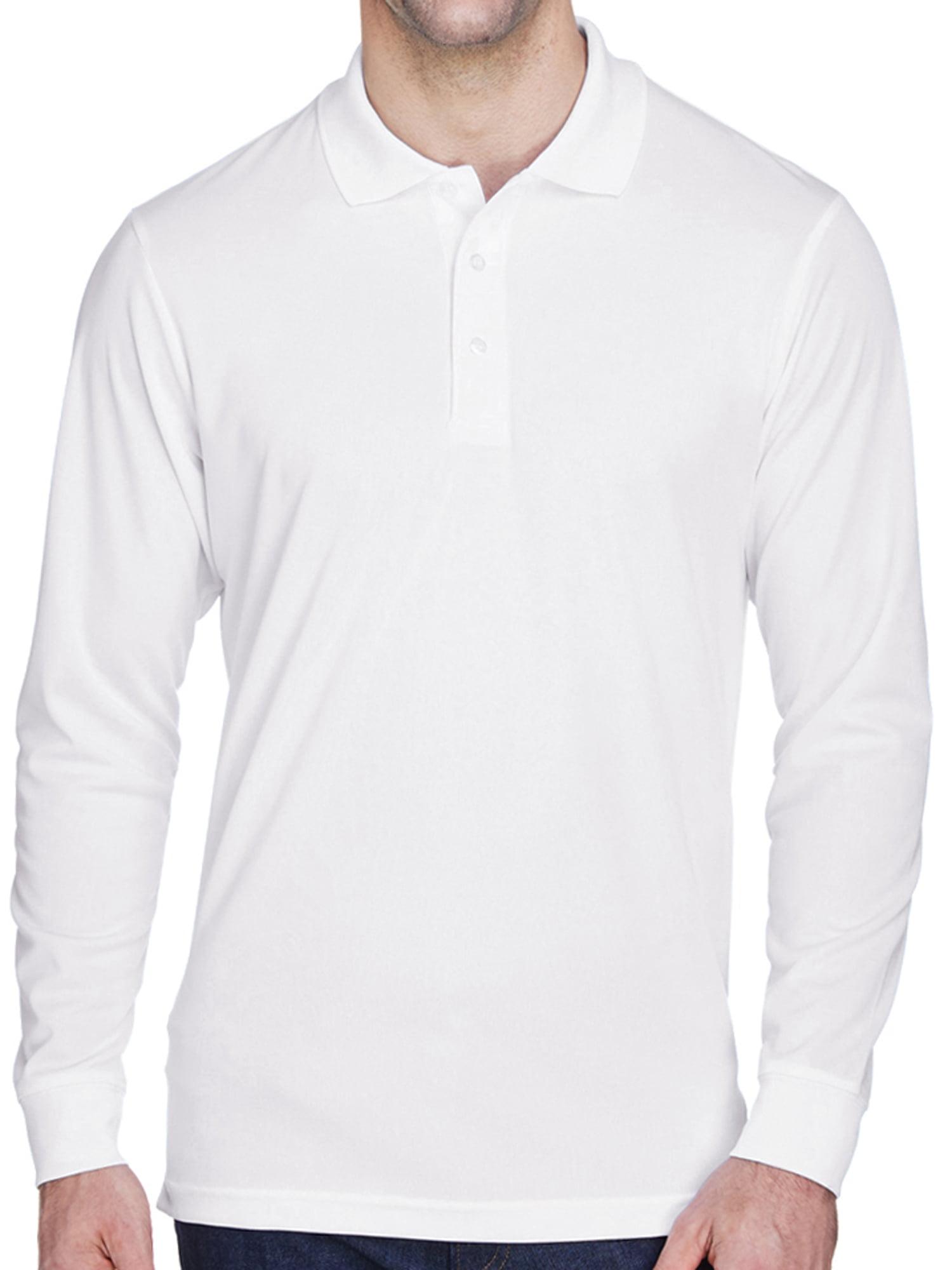 Mens Moisture-Wicking Long Sleeve Polo Shirt - White, 4XL