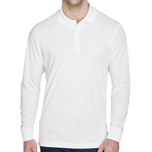 Mens Moisture-Wicking Long Sleeve Polo Shirt - White, Medium