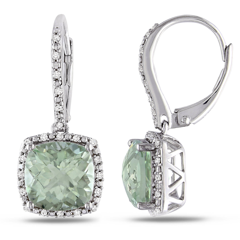 5-1 3 Carat T.G.W. Cushion-Cut Green Amethyst and 1 5 Carat T.W. Diamond Sterling Silver Leverback Halo Earrings by Delmar Manufacturing LLC