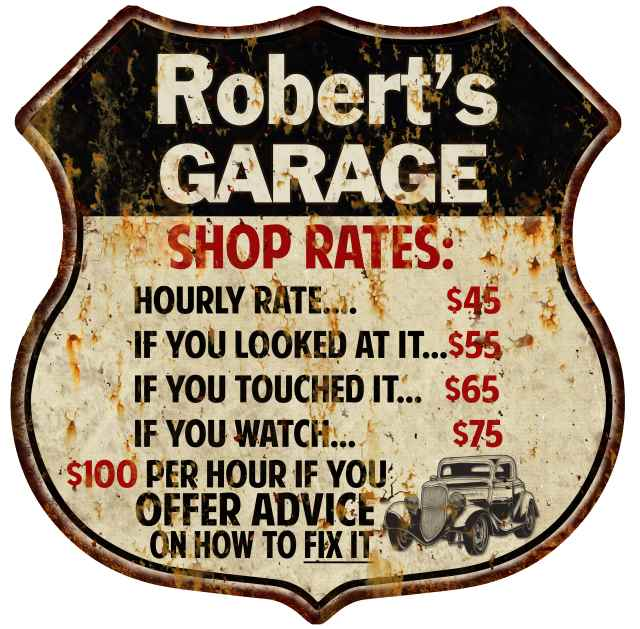 Robert's Garage Shop Rates Personalized Gift 8x12 Metal Sign 211110019006