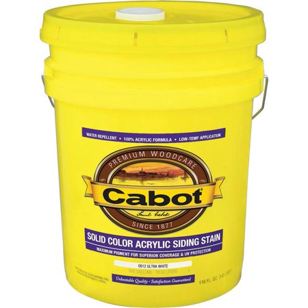 Cabot 800 Self Priming Water Based Solid Color Siding Stain  5 Gal  Ultra White