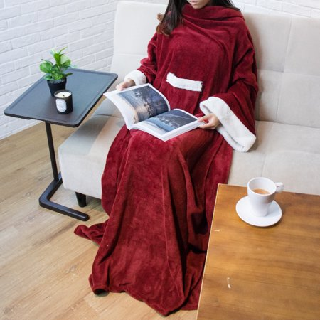 Premium Plush TV Blanket with Cuffed Sleeves by Pavilia - Wine