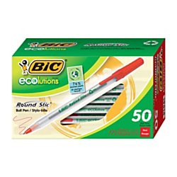 BIC® Ecolutions Round Stic Ball Pens, Medium Point, 1.0 mm, 74% Recycled, Translucent Barrel, Red Ink, Pack Of 50 (Spectrum Translucent Pen)