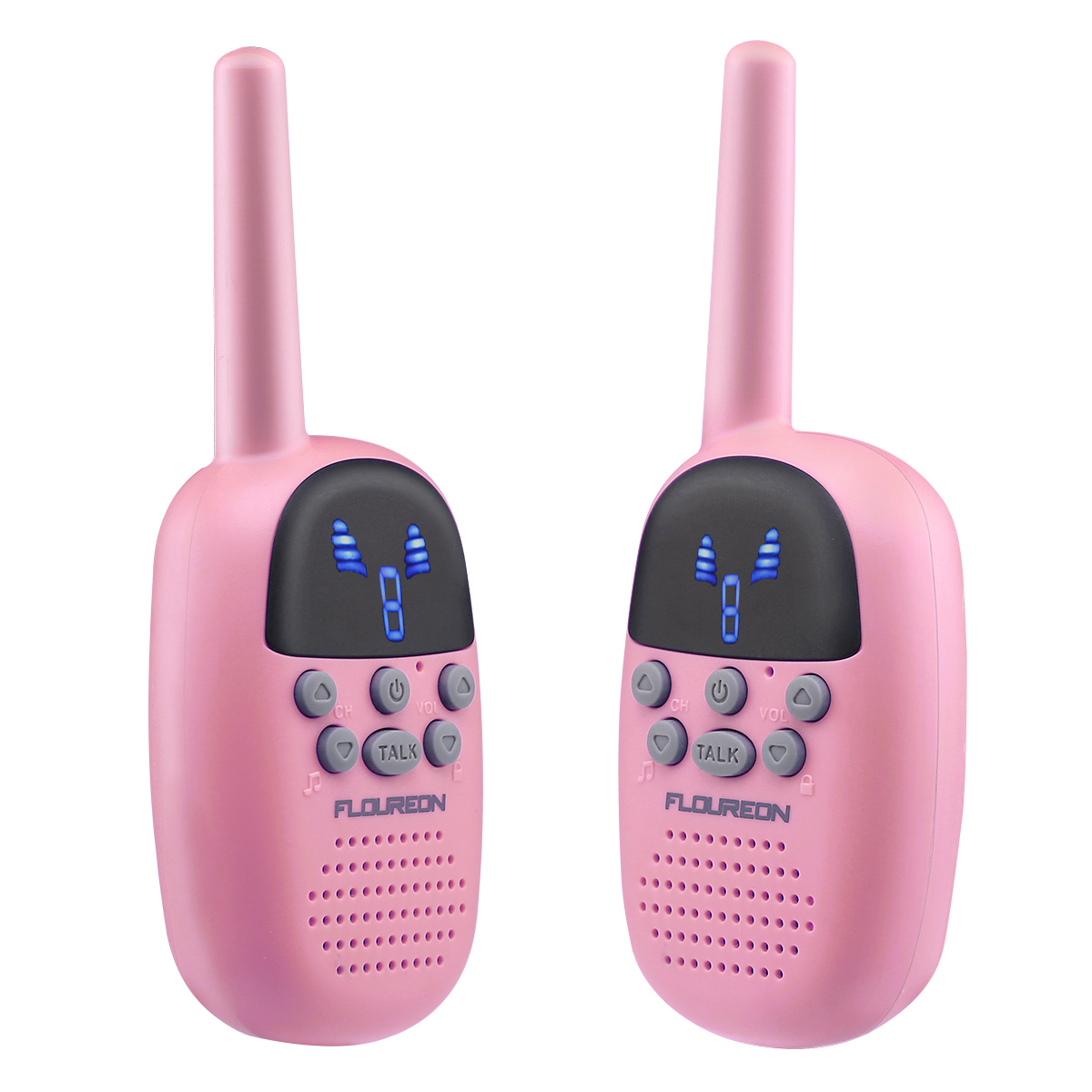 Floureon Walkie Talkies for Kids Two-Way Radios 22 Channels FRS/GMRS 462/467MHZ Portable Handheld Mini Kids Walkie Talkies Long Range 3.3 Miles Carry Charger (Pink, 2 Pack)