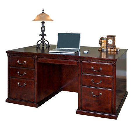 kathy ireland Home by Martin HCR680 Huntington Club Office Double Pedestal Executive Desk Kathy Ireland Office Writing Desk