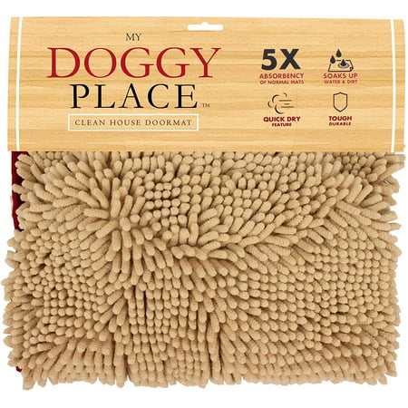 My Doggy Place - Ultra Absorbent Microfiber Chenille Dog Bath Dry Towel with Hand Pockets, Durable, Quick Drying, Washable, Prevent Mud Dirt