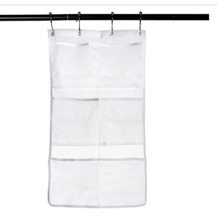Mesh Shower Caddy Organizer - Hanging Bathroom Shower Curtain Rod / Liner Hooks Accessories with 6 Pockets Save Space in Small Bathroom Tub 4 Rings (6 Pockets, white) (Round Tub Shower Rod)
