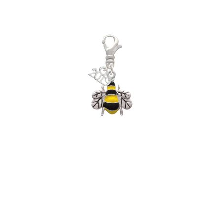 Silvertone Enamel Bee - 2019 Clip on Charm
