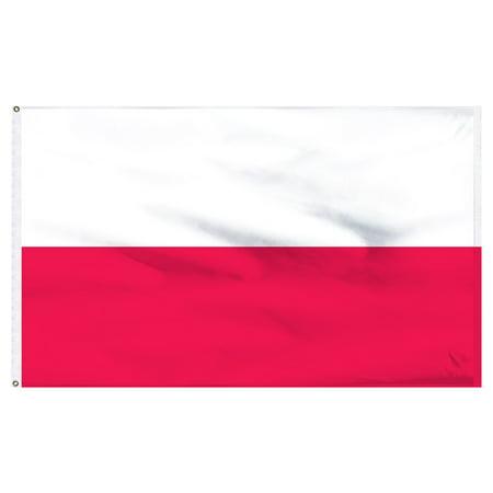 Poland National 2ft x 3ft Nylon Flag with Pole Hem Only - Banner