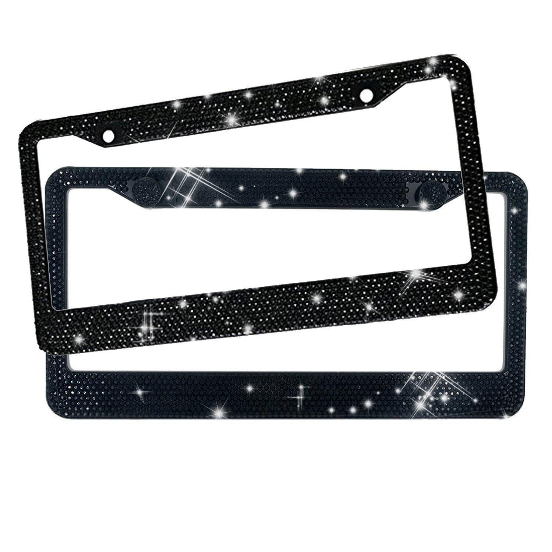 Rhinestone License Plate Frame, EEEKit 2 Packs Pure Handmade Waterproof License Plate Frame Aluminium Metal Chrome Swarovski Crystal Diamond Bling