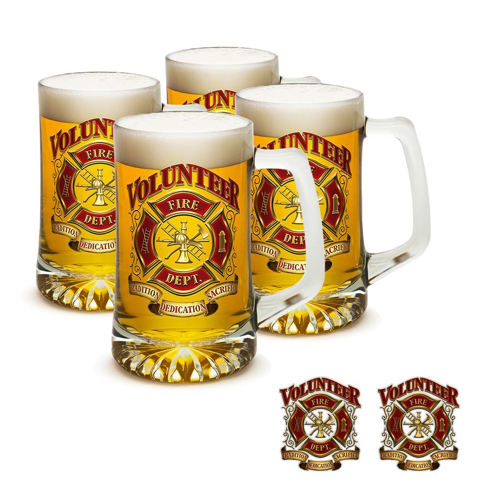 2Bhip Firefighters Volunteer Fire Dept. Beer Mug/Decal Set