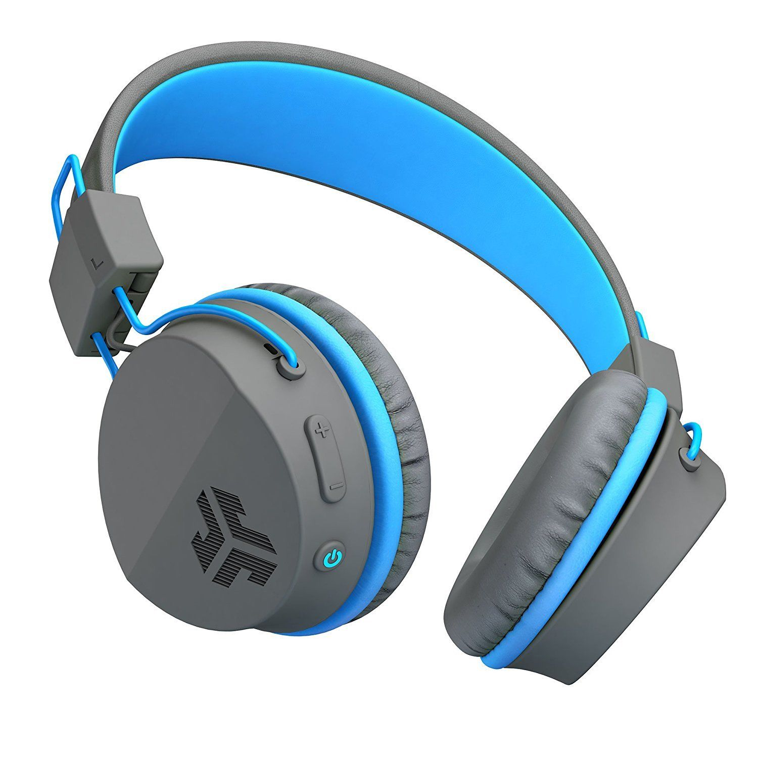 JLab Audio Neon Bluetooth Folding On-Ear Headphones with 13 Hour Bluetooth Playtime, 40mm Neodymium Drivers, C3 Sound and Crystal Clear Clarity, Gray/Blue (Refurbished)