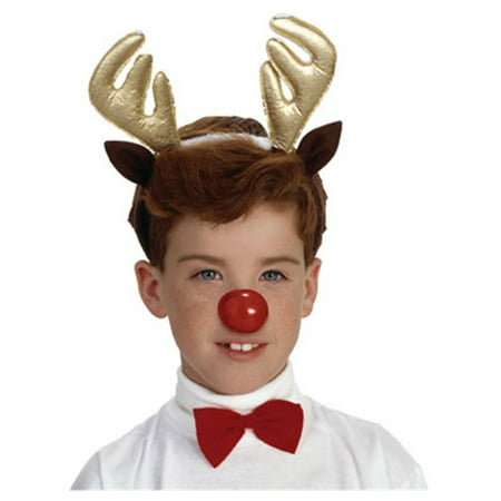 Christmas Reindeer Costume Antlers Nose and Bow Tie Set