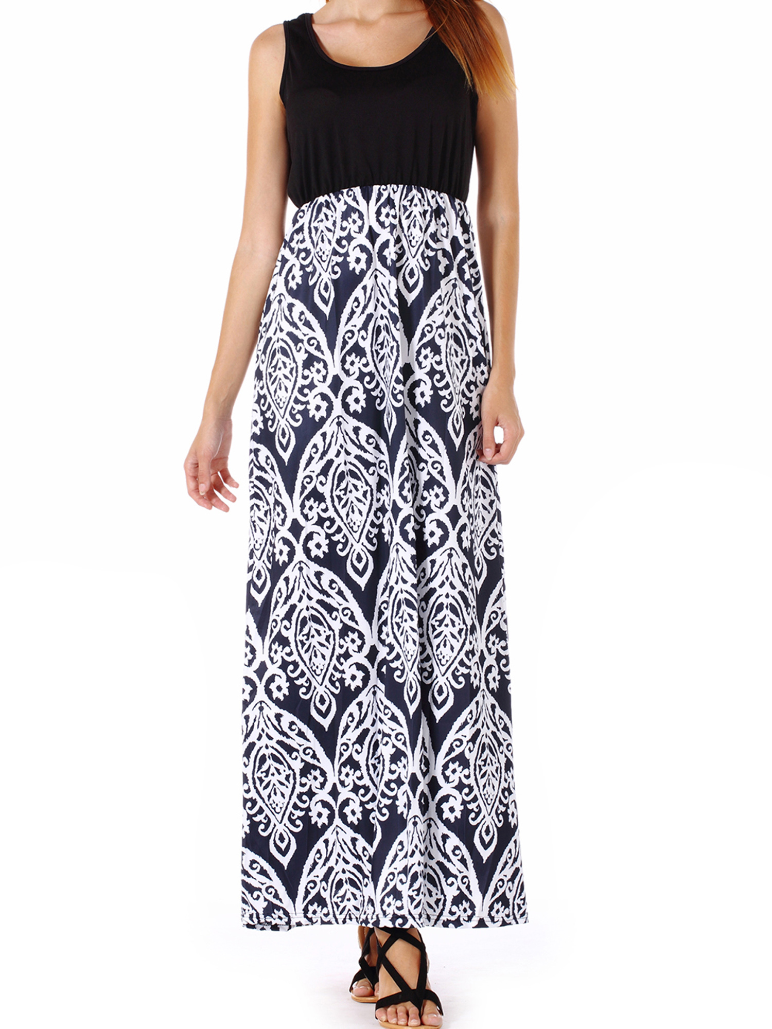 Pregnant Maternity Loose Fit Sleeveless Maxi Dresses Spliced Ethnic